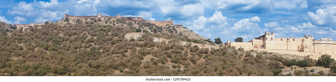 Panorama of  Amber Fort near  Jaipur, Rajasthan, India