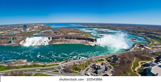 Panorama of American Falls, Bridal Veil Falls and Horseshoe Falls (Canadian Falls) collectively known as Niagara Falls on the Niagara River on the border between United States of America and Canada