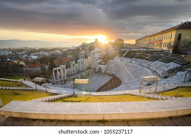 Panorama of the Amphitheatre in Plovdiv , Bulgaria at sunset - european capital of culture 2019. Ancient roman theater a venue for dramatic and musical performances. One of the oldest cities in world