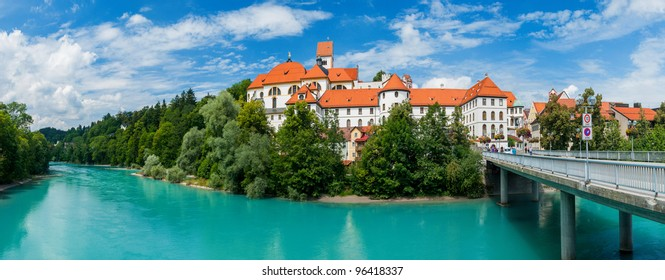 Panorama of Ancient Castle in Bavarian Town Fuessen, Germany
