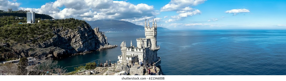 the panorama of the ancient castle on a rock, the symbol of the Republic of Crimea on the background of blue sea. Yalta. swallow's nest