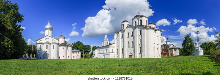 Panorama of ancient churches on Yaroslav Courtyard in historical center. Veliky Novgorod (Novgorod the Great), Russia.