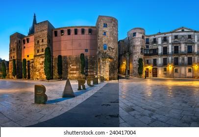 Panorama of Ancient Roman Gate and Placa Nova in the Morning, Barri Gothic Quarter, Barcelona, Catalonia, Spain