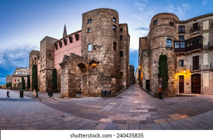 Panorama of Ancient Roman Gate and Placa Nova in the Morning, Barri Gothic Quarter, Barcelona, Catalonia, Spain
