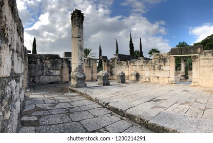 Panorama Ancient Ruins at Capernaum located on The North Shore of The Sea of Galilee in Israel.