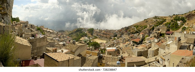 Panorama of the ancient town of Caltabellotta in Sicily, where once it stood the Greek city Triocala,famous for the rock that made it impregnable
