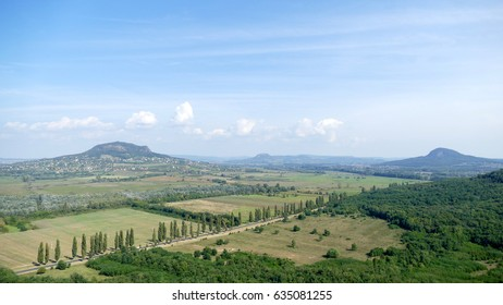 Panorama with ancient volcanoes (Badacsony) from Szigliget castle ruins in Hungary