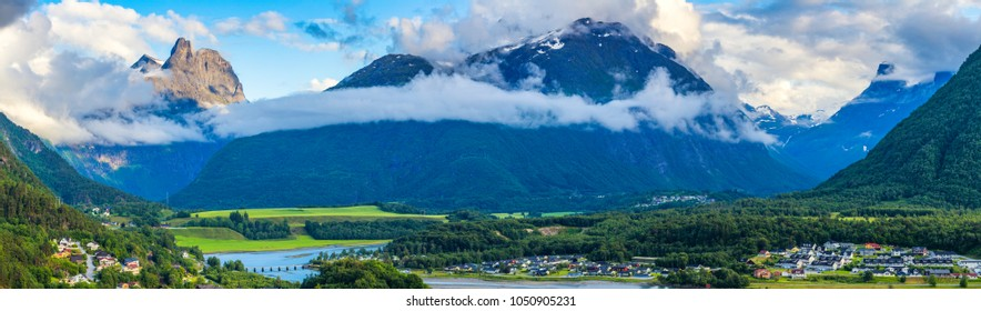 Panorama Of Andalsnes City, View  From Romsdalseggen, Norway.
