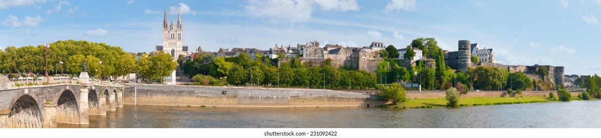 Panorama of Angers at a summer day