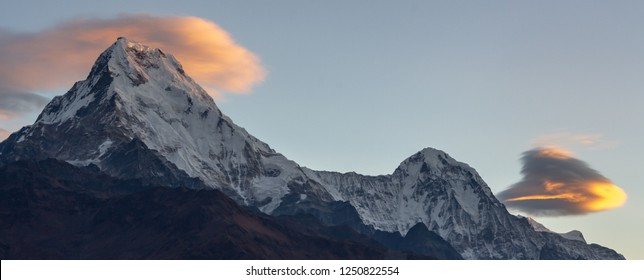 Panorama of Annapurna South and beautiful clouds during sunrise from Poonhill, Nepal