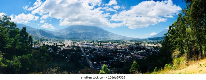 Panorama of Antigua, Guatemala, from Top of Mountain