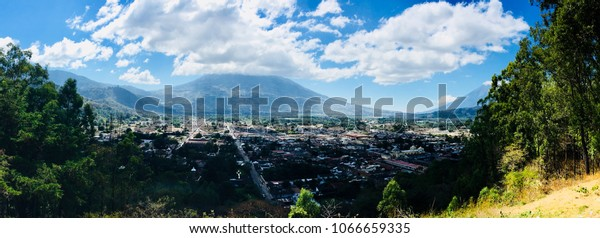 Panorama of Antigua, Guatemala, from Top of Mountain