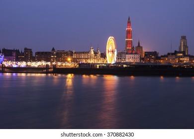 Panorama of Antwerp across Scheldt River. Antwerp, Flemish Region, Belgium