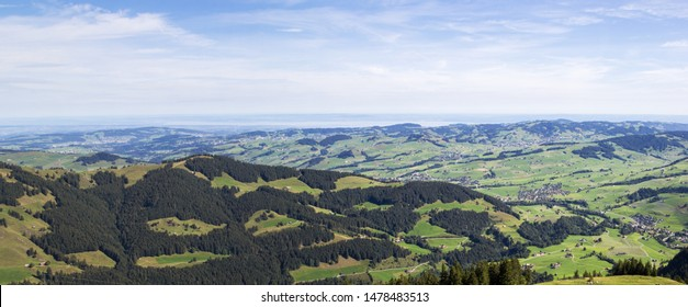 Panorama of the Appenzellerland, an overview  from high Swiss Alpstein region Ebenalp, with Lake of Constance at the far background