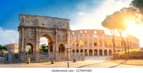 Panorama of the Arch of Constantine and the Colosseum in the morning sun. Rome architecture and landmark, Italy. Europe