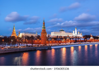 Panorama of the architectural ensemble of the Moscow Kremlin in the winter evening twilight. Russia