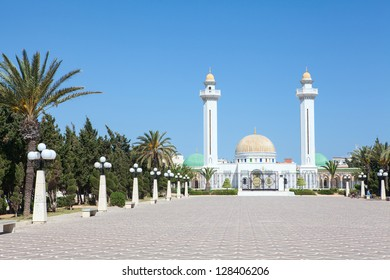 Panorama of the area front of the mausoleum of the first president in Monastir, Tunisia, Africa. Early morning
