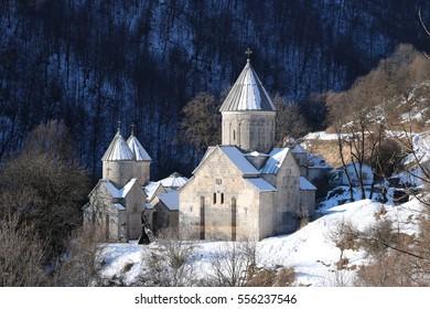 Panorama of armenian monastery Hagarcin in a sunny winter morning