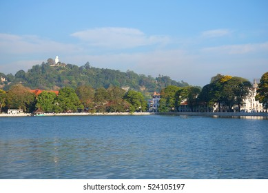 Panorama of the artificial lake of the city of Kandy in the solar morning. Sri Lanka