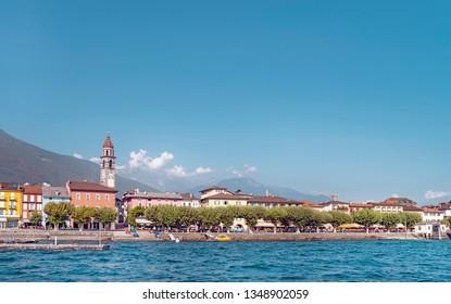 Panorama of Ascona from the waters of Lake Maggiore, Switzerland.