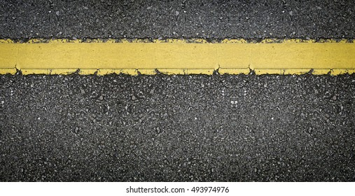 Panorama of asphalt with yellow line texture background with blank space for insert texts or something.