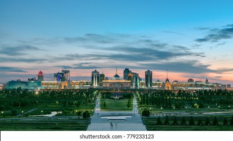 Panorama of the Astana city and the president's residence Akorda with park. View from the Palace of Peace and Reconciliation. Astana, Kazakhstan.