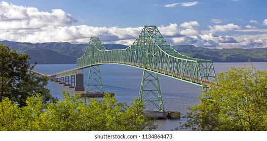 Panorama of Astoria megler bridge that spans across the Columbia River in Astoria, Oregon.