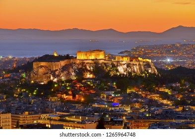 panorama of athens city in twilight