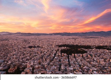 Panorama of Athens at sunset