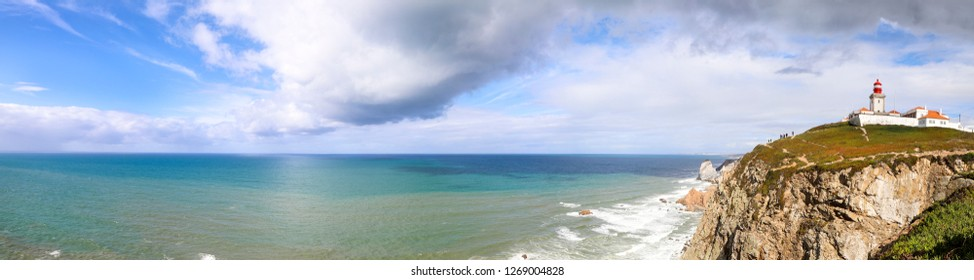 Panorama of the Atlantic Ocean, Portugal, Cape Roca. The westernmost extent of mainland Portugal, continental Europe.