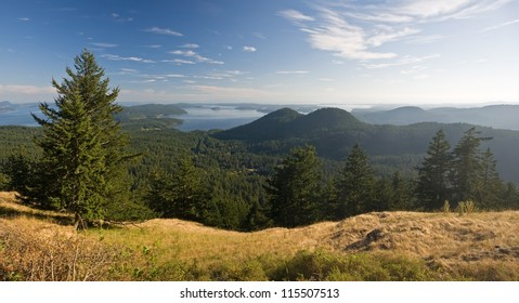 Panorama from atop Mount Constitution on Orcas Island in the San Juan Islands of Washington