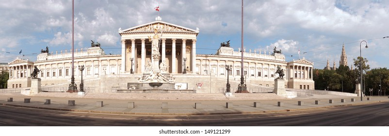 Panorama of the Austrian Parliament building at Vienna.