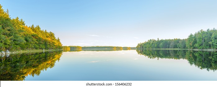 Panorama of  autumn lake before sunset (Kejimkujik National Park , Nova Scotia, Canada)