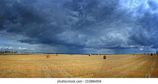 panorama of autumn landscape in the sky clouds clouds in the field of agriculture