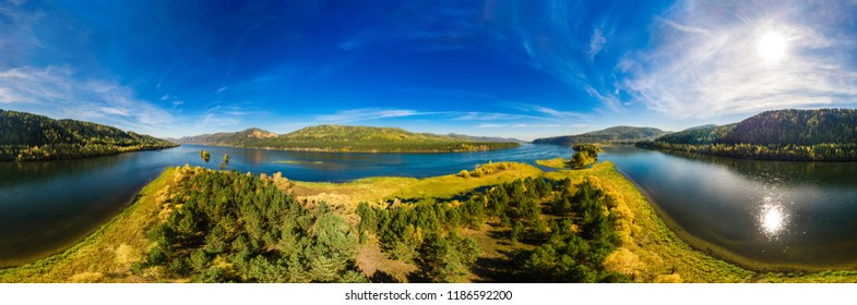 Panorama, autumn landscape view of the islands on the Yenisei River in Russia, Siberia, shooting of the air