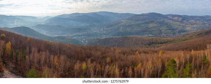 Panorama of autumnal Pohronsky Inovec mountain and Nova Bana town underneath it in Slovakia