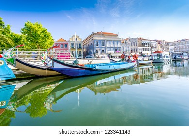 The panorama of Aveiro city and canal with boats, Portugal