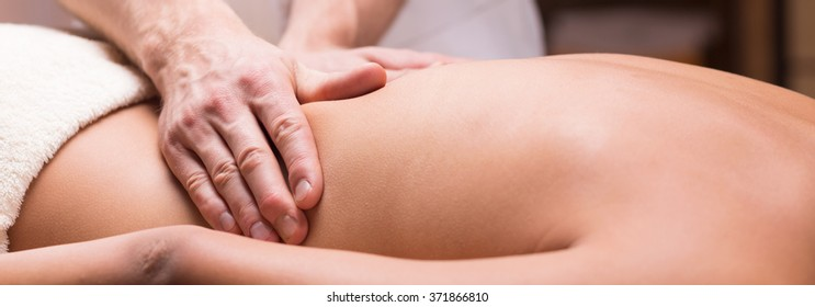 Panorama of back massage for health and relax