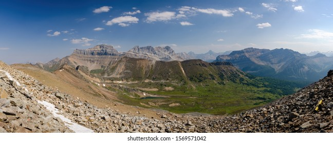 panorama of the back side of lake Louise ski hill in the summertime , Ptarmigan Peak mountain
