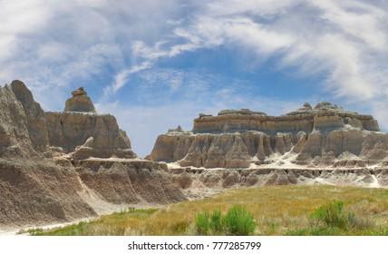 Panorama of the Badlands National Park, South Dakota