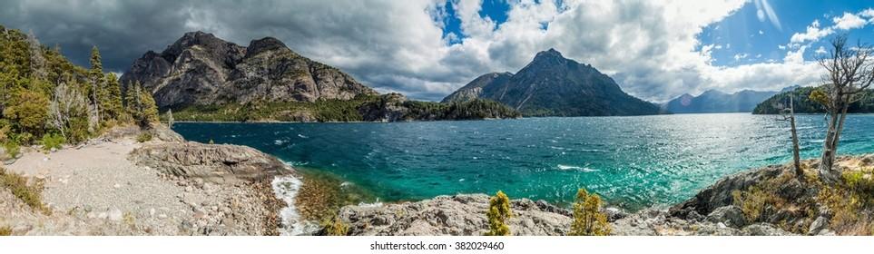 Panorama of Bahia Lopez bay in Nahuel Huapi lake near Bariloche, Argentina