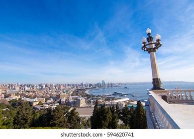 The panorama of Baku city from Nagorny park