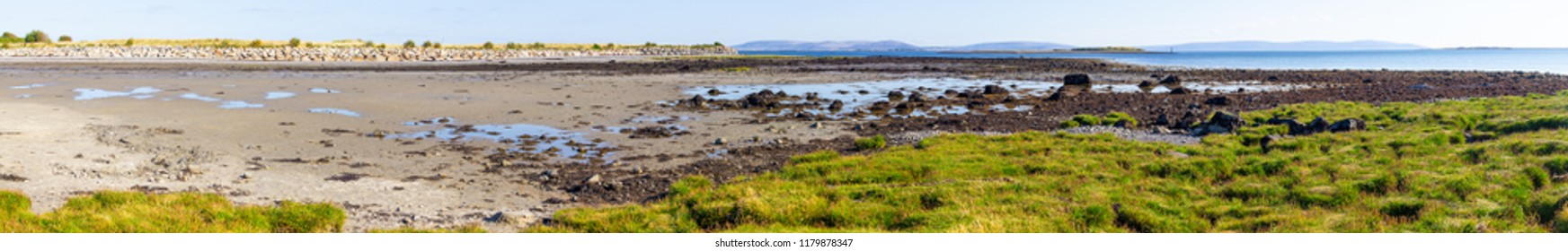 Panorama of Ballyloughane Beach with Galway bay in background, Galway, Ireland