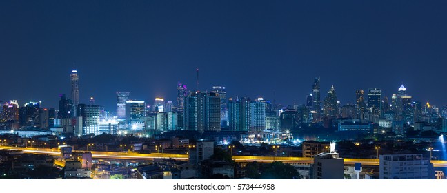 Panorama bangkok city at night scene, Thailand