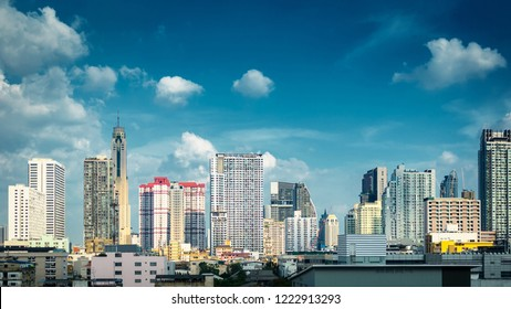 Panorama  Bangkok Cityscape Skyline , Business district with high building
