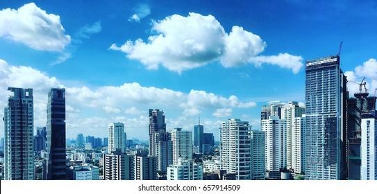 Panorama Bangkok concrete jungle, full of high buildings