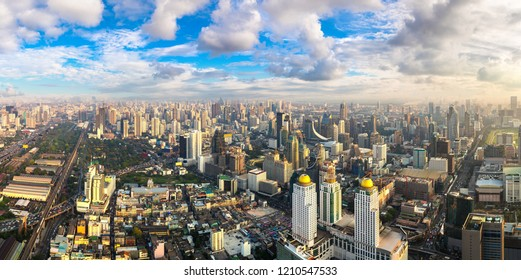Panorama of Bangkok in a summer evening