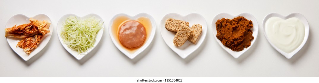 Panorama banner of assorted fermented foods displayed in heart shaped dishes for a healthy gut to aid digestion, flat lay still life