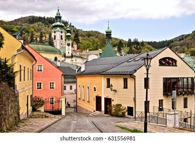 Panorama in Banska Stiavnica old mining city, Slovakia