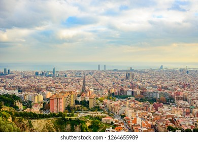 panorama of Barcelona on sunrise